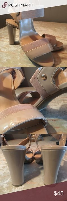New....goes with everything heel. Liz Claiborne, never worn, size 8.5. Cream patent leather with stretch band. Goes with everything Liz Claiborne Shoes Heels
