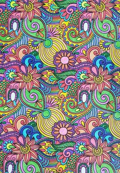 Mandala Coloring Pages, Coloring Book Pages, Oil Painting App, Zentangle Patterns, Zentangles, Truck Art, Flower Doodles, Hippie Art, Psychedelic Art