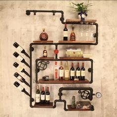 nice bar decoration Piercing matija s piercing celje cenik Industrial Wine Racks, Wood Wine Racks, Wine Rack Wall, Wine Rack Shelf, Bar Shelves, Wine Shelves, Wall Mounted Shelves, Shelf Wall, Wine Bar Cabinet