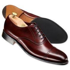 Burgundy Berkeley calf leather semi brogue shoes | Men's business shoes from Charles Tyrwhitt, Jermyn Street, London