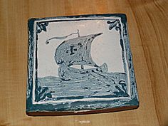 Thick Small Ceramic Art Tile Trivet Plaque Viking Ship Terra Cotta Antique Tiles, Or Antique, Glaze Paint, Viking Ship, Tile Art, Vintage Pottery, Terra Cotta, Ceramic Art, A Table