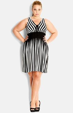 City Chic Lace-Up Stripe Sleeveless Dress (Plus Size) available at #Nordstrom