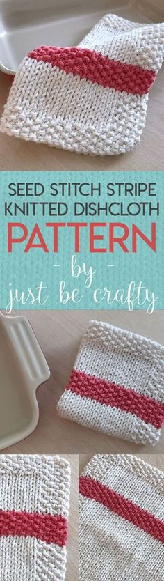 Seed Stitch Stipe Dishcloth Pattern – free knitting pattern by Just Be Crafty
