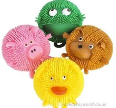 Cute little animal balls made of squeezable rubber featuring assorted cute animal characters. Measuring 6cm. Wholesale bulk buy from 144 units.