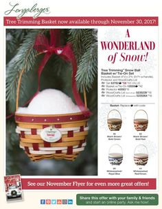 The Tree Trimming Basket and Set are now available through November 30, 2017! You can still save $8 on the Basket, Protector and WoodCrafts Lid Set through the end of November. Available in Warm Brown with Bold Red or Bold Green and Whitewashed with Royal Blue or Green and Red Holiday Shipping – Order by 11/30 & we'll ship it by 12/14/17. Visit my Longaberger website to order today!  http://longaberger.com/heidianhalt