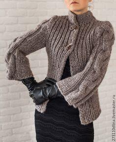 """Купить Жакет """"Елена"""" - серый, однотонный, жакет ручной работы, мохеровый, пальто вязаное"""