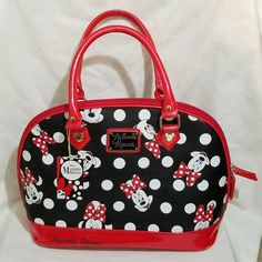 Loungefly Disney Minnie Mouse Polka Dot  Handbag Large Purse New Gift Adorable  #Loungefly #Dome