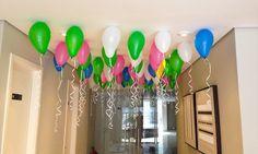 Um teto lindo feito sem gás hélio. Veja como em mulheremae.com.br. #balloon #bladder #kidsparty #party #color #birthdayparty #idea