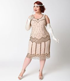 Plus Size 1920s Style Rose  Bronze Beaded Morton Flapper $248.00