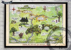 100 Aker Wood Winnie The Pooh Map The by TheDutchHospitalArt