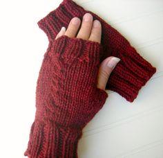 Soft Merino Wool Knit Fingerless Gloves Dark Red by WindyCityKnits, $23.00 #fashion #gloves #fingerless #wool #merino #red #valentine #knit #burgundy
