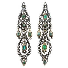 1700s french silver-gold backed and emerald chandelier drop earrings