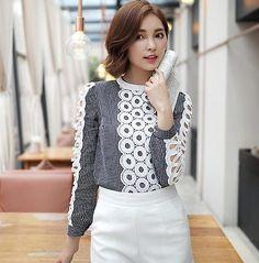 Korean Fashion Lady OL Plaid hollow Tops Long Sleeve Shirt Casual Blouse A   eBay