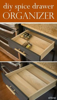 Get your spices under control with this DIY Spice Drawer Organizer. It's customized to fit within your kitchen drawer. #kitchendiy #kitchenstorage