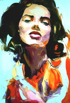 Picture of Francoise Nielly painting of a young woman's face. She's wearing orange. The background is light blue.