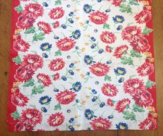 Red Kitchen Toweling Fabric Vintage Cotton Print by AStringorTwo