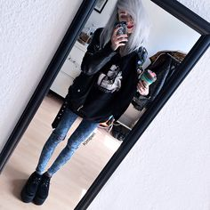 Get this look: http://lb.nu/look/8220609  More looks by Kimi Peri: http://lb.nu/kimiperi  Items in this look:  H&M Fishnet Tights, Monki Denim Jeans, Unif Americana Moto Jacket, Underground Wulfrun Platform Creepers, Sarah Thursday Express Hoodie   #casual #grunge #street #girl #kimiperi #blackrush #blogger #model #witch