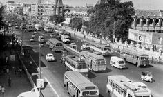 Traffic outside the erstwhile Spencers building in 1976 with a majority of the vehicles on Mount Road being public transport vehicles.