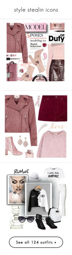 """style stealin icons"" by janineephault ❤ liked on Polyvore featuring Anastasia, Topshop, River Island, Chinese Laundry, Boohoo, Betsey Johnson, Maybelline, John Lewis, Polly Plume and Acne Studios"