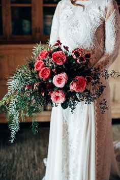 This lusciously rustic and intimate wedding at Harvest Cafe Bakery in Newrybar in the Byron Bay Hinterland was captured by Figtree Pictures. Wedding Reception Flowers, Bridal Flowers, Flower Bouquet Wedding, Boho Wedding, Wedding Bride, Floral Wedding, Wedding Stuff, Wedding Dresses, Hot Pink Weddings