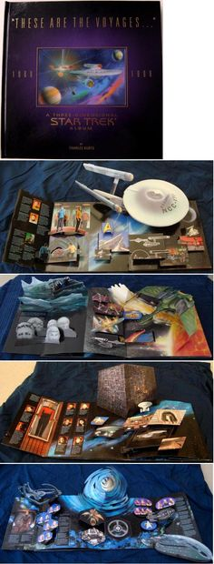 """Chuck's Stuff has this Star Trek """"These Are The Voyages"""" 30th anniversary pop-up book for sale on clearance 1996 Pocket Books, 35 bucks new. 11.25""""x11.25"""". 4 main display pages, for the original TV series, movies, Next Generation, w/Deep Space Nine & Voyager combined on the last one. Lenticular color hologram cover of original Enterprise. Last one is still shrink-wrapped, minor corner ding on back. #startrek"""