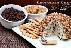 Chocolate Chip Cheeseball Recipe DMR: Better recipe than my old--cream cheese, butter, vanilla, powdered sugar, brown sugar,  choc chips, and pecans.
