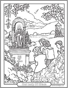 Children Praying At A Shrine Catholic Coloring Pages to print