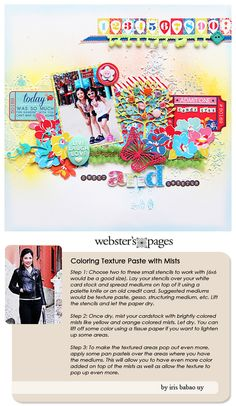 Stunning layout by Designer Iris Babao Uy with instructions on how to add color to a textured layout!