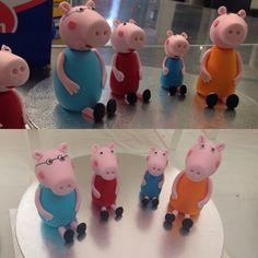 Fondant peppa pig cake toppers