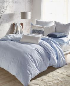The super-soft cotton chambray and soothing tones of this Pure Eco reversible duvet cover from DKNY make it the perfect choice for refreshing any bedroom's look and feel. Twin Xl Bedding, Gray Comforter, Bed Comforter Sets, King Duvet, Queen Duvet, Chambray, Light Blue Bedding, Bed Duvet Covers, Houses