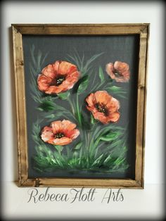 Coral Poppieswindow screen paintedflowerscoral by RebecaFlottArts