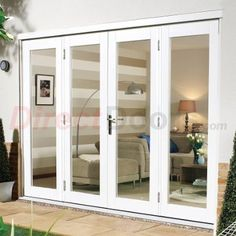Image Of Nuvu White Exterior French Doors With Twin Side Frames, Fully  Decorated Part 61