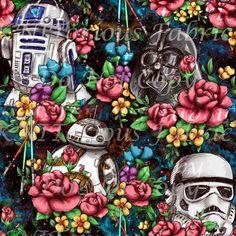 *Pre-Order* Floral Wars - Vivid Rainbow Galaxy Star Wars Fabric, Rainbow Galaxy, Crafty, Sewing, Floral, Prints, Painting, Inspiration, Fabrics
