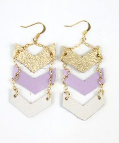These gorgeous dangling chevron earrings feature the perfect mix of pastel colors. $28