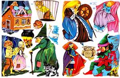 Grimm's fairy tales paper scrap cut out doll puppets free printable