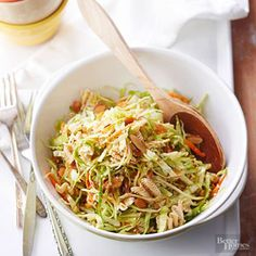 Sesame Ramen Noodle Slaw:   The Oriental noodles are crunchy when you first make this cabbage salad. If you prefer softer noodles, chill the salad to give them time to absorb some of the soy-vinegar dressing.