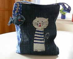 Pattern - denim bag with cat applique
