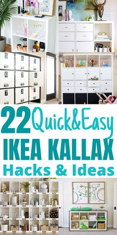 Are you looking for some cheap ways to organize your home? I have found some great IKEA Kallax hacks you can use to transform the look of your furniture and make it more functional and beautiful looking. #ikeahacks #ikeakallax Ikea Hack Storage, Ikea Kallax Hack, Ikea Hacks, Closet Hacks, Ikea Decor, Ikea Dresser, Ikea Bedroom, Ikea Kitchen, Organizing Your Home