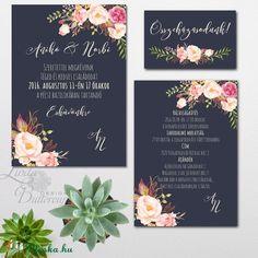 Esküvői Nyári Virágos Tenger kék meghívó, Amerikai stílusú Egyedi Igényes Esküvői meghívó szett, gyönyörű fényes borítékkal.  Hívd meg vendégeidet ezzel a gyönyörű Esküvői  meghívó szettel!  Meghívó CSOMAG: * Meghívó lap, egy oldalas : 14.3cmx10.2cm * Esküvő részletei lap: helyszín, szállás, ajándék (vagy bármi más adat amit Te szeretnél) egy oldalas : 12.1cmx8.3cm * összeházasodunk kísérő kártya: 5.3x8.5cm * Szatén szalag : 90cm hosszú * fényes boríték : C6-os méret  Egyszeri  szerkesztési…