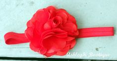 Headband Red Satin and Tulle Flower by AshleyKBowtique on Etsy, $6.95