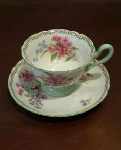 Antique English Shelley Teacup and Saucer, Stamped, Demitasse