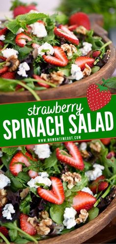 An easy way to pack a nutritional punch in your diet! Feast your eyes on this Strawberry Spinach Salad. Sweet, crunchy, savory – a delightful bite of this salad has it all. Tossed with Gorgonzola, walnuts, and mint, this side dish is perfect for your summer menu! Mint Recipes, Easy Salad Recipes, Easy Salads, Summer Salads, Side Dish Recipes, Clean Recipes, Summer Recipes, Dinner Recipes, Healthy Recipes