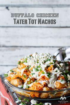 Buffalo Chicken Tater Tot Nachos (Totchos) | http://sharedappetite.com