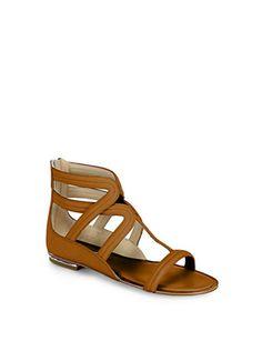 MICHAEL KORS Hunter Leather Gladiator Sandals in Camel