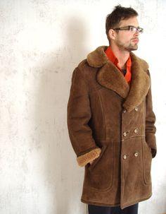 Genuine Men's Shearling Coat Vintage Shearling by GrandpasTreasury, $230.00