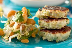 Fish cakes with cashew, sprout and coriander salad