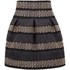 SheIn(sheinside) Black High Waist Rivet Studs Striped Skirt (145 NOK) ❤ liked on Polyvore featuring skirts, sheinside, bottoms, falda, black, flare skirt, striped flare skirt, black skirt, high-waisted skirts and black flared skirt
