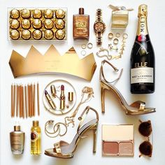this is my kind of flatlay Flat Lay Photography, Still Life Photography, Wine Photography, Commercial Photography, New Years Party, New Years Eve, Things Organized Neatly, Gold Everything, Moet Chandon