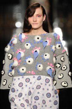We revisited Chen Yu Wang of Ravensbourne's collection at the #GFW Gala on Wednesday – we just can't get enough of this 3D eyeball knit!