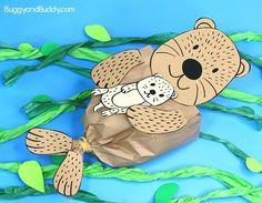 tengeri vidra papírzseb kézműves gyerekeknek, bébi tengeri vidra és szalvéta papírmosó, beleértve a szabad tengeri vidra sablon nyomtatható